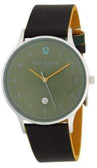 Ted Baker Stainless Steel & Two-Tone Leather-Strap Watch