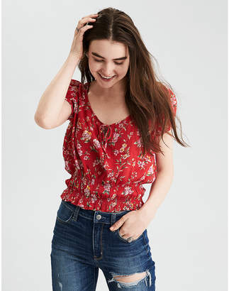 American Eagle AE Smocked Short Sleeve Top