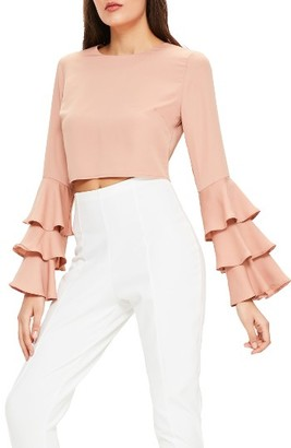 Women's Missguided Ruffle Crop Blouse $58 thestylecure.com