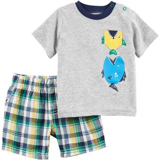 Carter's Baby Boy Fish Tee & Plaid Shorts Set