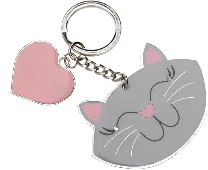 Silver cat keyring