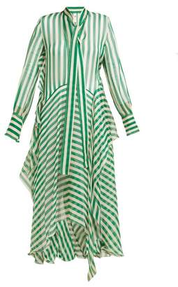 Petar Petrov Dikon Asymmetric Striped Silk Chiffon Midi Dress - Womens - Green White