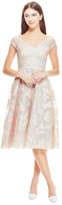 Lela Rose Organza Dotted Floral Fil Coupe Open Neck Full Skirt Dress