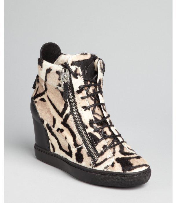Giuseppe Zanotti tan and black printed calf hair and leather wedge hi top sneakers