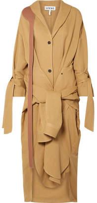 Loewe Tie-front Leather-trimmed Linen-blend Coat