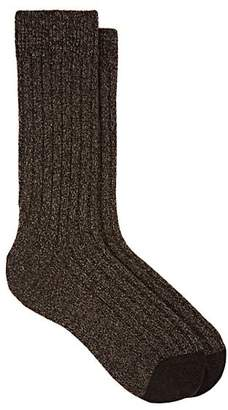 Barneys New York Men's Marled Cashmere-Blend Mid-Calf Socks - Brown