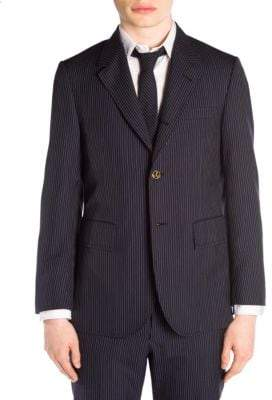 Thom Browne Wide Lapel Pinstripe Wool Suit Jacket
