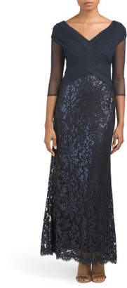 Petite Cross Over Bodice Lace Skirt Gown