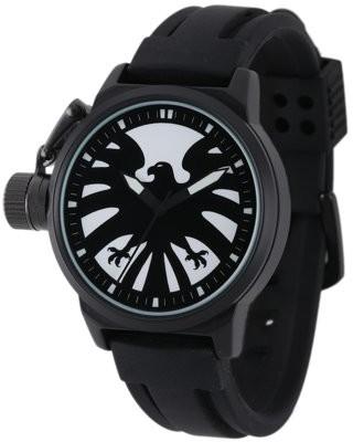 Movies & Tv MarvelS.H.I.E.L.D.Men's Black Alloy Watch, Black Rubber Strap