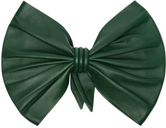 Montana forest green bow-embellished leather necktie