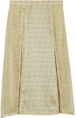 Burberry Monogram Print Silk Pleated Skirt