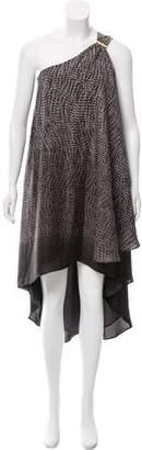 Halston One Shoulder Midi Dress