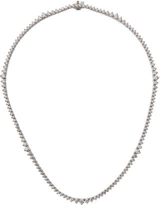 Neiman Marcus Diamonds 18k White Gold Three-Prong Diamond Tennis Necklace, 7.3tcw