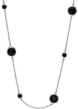 Lord & Taylor Black Onyx and Sterling Silver Strand Necklace