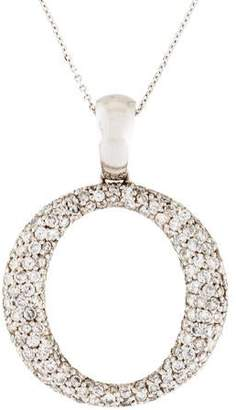 14K Pavé Diamond Circle Pendant Necklace