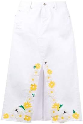 Sjyp embroidered denim skirt