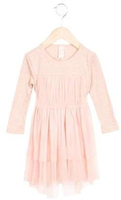 Tia Cibani Girls' Tulle-Accented Long Sleeve Dress w/ Tags