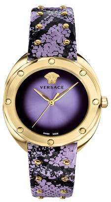 Versace Shadov Snakeskin Leather Strap Watch, 38mm