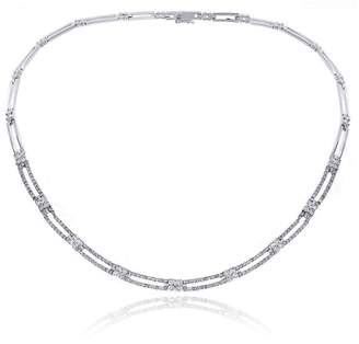 14K White Gold 4.50ct Diamond Rectangular and Cluster Link Chain Necklace