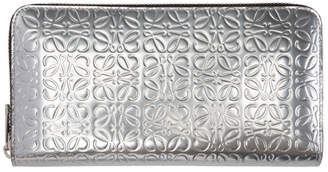 Loewe Silver Anagram Zip Around Wallet