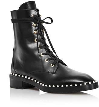 Stuart Weitzman Women's Sondra Faux Pearl Combat Boots