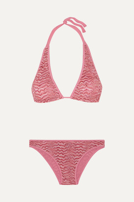 Missoni Pizzo Rilievo Crochet-knit Halterneck Bikini - Pink