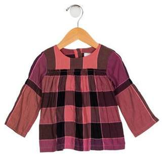 Burberry Girls' Long Sleeve Check Top pink Girls' Long Sleeve Check Top