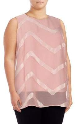 Vince Camuto Plus Sheer Chevron Overlay Top
