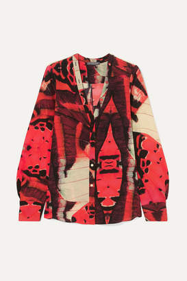 Alexander McQueen Printed Silk-crepe Blouse - Red