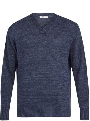INIS MEÁIN Two-button linen sweater