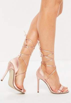 Missguided Blush Satin Lace Up Barely There Sandals