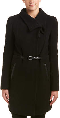Mackage Valencia Leather-Trim Wool & Cashmere-Blend Coat