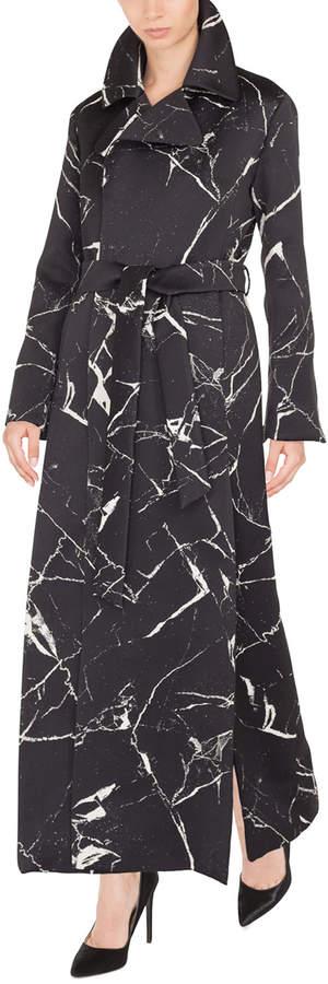 Akris Marble-Tile Jacquard Wool-Blend Coat w/ Self-Belt