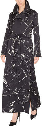Akris Marble-Tile Jacquard Wool-Blend Coat w/ Self-Belt