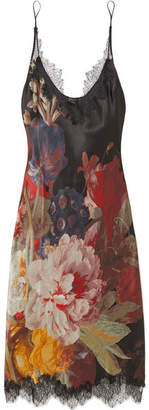 Carine Gilson Chantilly Lace-trimmed Floral-print Silk-satin Chemise - Black