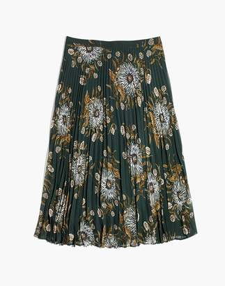 Madewell Pleated Midi Skirt in Painted Blooms