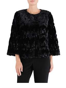 Anthea Crawford Black Sequin Faux Fur Jacket