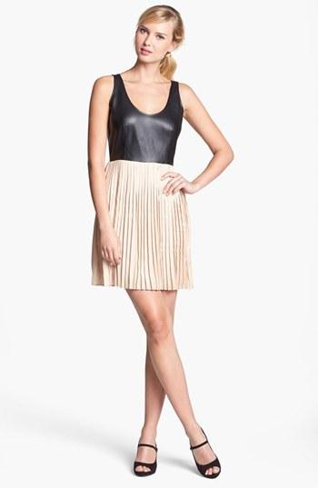 BB Dakota Faux Leather Bodice & Pleated Skirt Dress (Online Only)