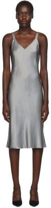 Helmut Lang Grey Satin Double Strap Slip Dress
