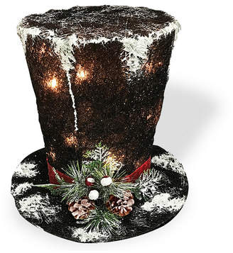 """clear National Tree 10"""" Black Sisal Hat with 10 Lights"""