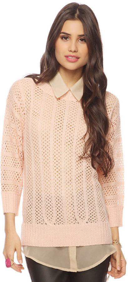 Forever 21 Sheer Paneled Sweater