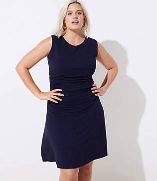 LOFT Plus Side Shirred Wrap Dress