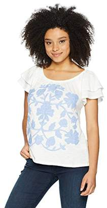 Democracy Women's Short Double Ruffle SLV TEE with Embroidery