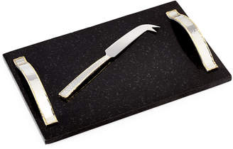 Godinger Marble Cheese Board with Hammered Handles and Knife