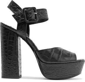 Alice + Olivia Lily Croc-Effect Leather Platform Sandals