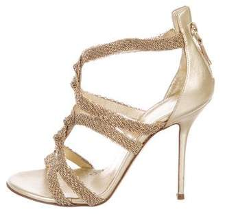 Casadei Metallic Cage Sandals