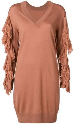 Nude tassel detail sweater dress
