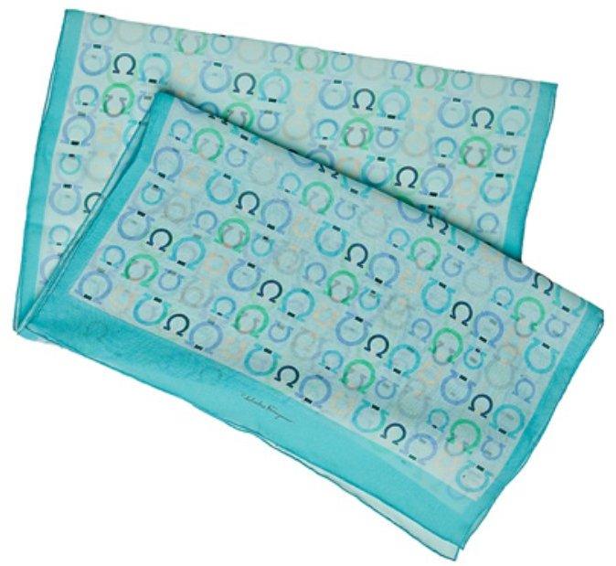 Ferragamo turquoise gancio print silk chiffon scarf