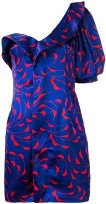 Self-Portrait printed one shoulder dress