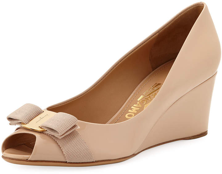 Salvatore Ferragamo Vara Mid-Wedge Pumps, Nude